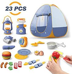 DEERC Kids Camping Tent Set Toys Includes Pop Up Play Tent, Camping Gear Tools Adventure Set, Play Kitchen Food Set, Indoor and Outdoor Toys Gifts for Toddlers Kids Boys Girls Play Kitchen Food, Pretend Play Kitchen, Kids Camping Tent, Camping Gear, Toddler Gifts, Toddler Toys, Princess Doll House, Captain America Toys, Pop Up Play