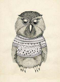 GICLEE print , fine art, dressed owl