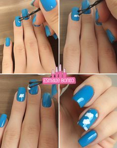Tutorial Nail Art de Nuvens - Clouds Manicure Tutorial