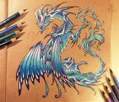Water dragon. Dragon and other Mythical Fantasy Drawings. To see more art and information about Alvia Alcedo click the image.