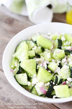 Summer is here, and so are fresh summer salads! See how to make this refreshing Cucumber-Honeydew Salad with Feta on Delish Dish: Food food Feta Salad, Salad Bar, Soup And Salad, Cucumber Salad, Melon Salad, Kale Salads, Honeydew Melon, Cheese Salad, Cantaloupe