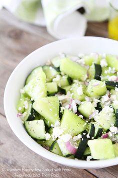 Cucumber Honeydew Salad with Feta - Great Summer Salad Recipe!!