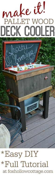 HowTo Build A Wood Cooler Stand DIY Weekend Pallet Project Idea for Porch Patio Deck or Tailgating Full tutorial at Deck Cooler, Wood Cooler, Cooler Stand, Outdoor Cooler, Pallet Cooler, Cooler Box, Pallet Crafts, Pallet Projects, Woodworking Projects