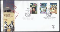 Aruba First Day Cover Scott #83-85 (30 Jul 1992) Christopher Columbus; Sailing ship; Natives and map. Pictorial cancellation showing a ship (galleon).   Discovery of America (Columbus, Colón, Colombo) issue.