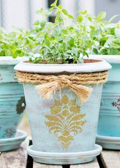 Give plastic and clay pots a beautiful makeover using homemade chalk paint and a few extras.