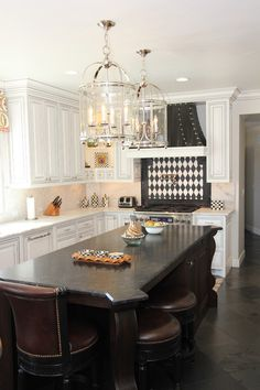 mackenzie childs outlet Kitchen Traditional with black and white backsplash black countertop black floor checkered