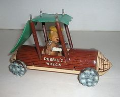 VINTAGE 1962 FRICTION MARX TIN LITHO RUBBLE'S WRECK FLINTSTONES TOY CAR - http://hobbies-toys.goshoppins.com/electronic-battery-wind-up-toys/vintage-1962-friction-marx-tin-litho-rubbles-wreck-flintstones-toy-car/