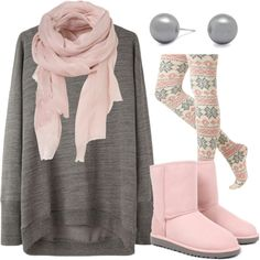 Polyvore Cozy Toesies Look. Wintery, Girly and Comfy!