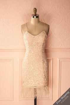 00e0855239ea Robe style flapper rose en dentelle avec frange de plumes - Pink lace  flapper-style