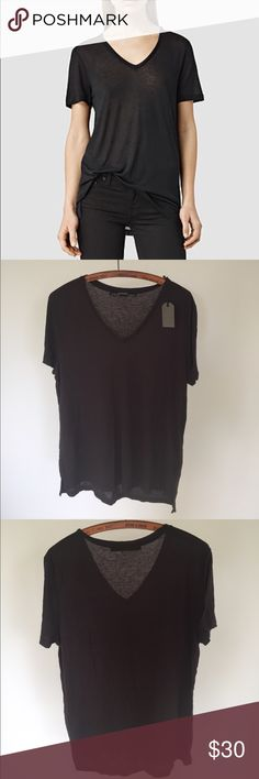 NWT all saints Brand new soft v neck t shirt. Dark grey All Saints Tops Tees - Short Sleeve