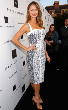 Week of 4/1/13 #1 Stacy Keibler- Designer: Rebecca Minkoff~ I one hundred percent adore this dress! The white and blue are just perfection! Rebecca Minkoff is one of my favorite designers! This dress fits Stacy perfectly. She looks head to toe fabulous =]