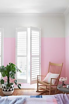 Half painted walls in spare bedroom? Half Painted Walls, Home Interior, Interior Design, Interior Decorating, Decorating Blogs, Pink Walls, Pastel Walls, White Walls, Ombre Walls
