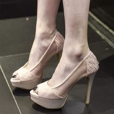 3de4e7d8228f10 Chic   Beautiful Champagne See-through Evening Party Womens Shoes 2019  Leather 12 cm Stiletto