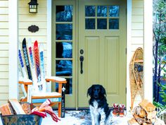 """Scooter stands sentry at the front entrance beside a """"ski chair."""" PHOTO BY Audrey Hall"""