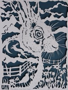 Midnight Hare by Amy Williams (papercut) Paper Cutting Patterns, Paper Cutting Templates, Fimo Polymer Clay, Small Sculptures, Paper Artwork, Quilling Patterns, Silhouette Art, Illustrations, Quilling Comb