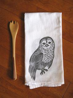 Owl Towel in gray block print flour sack towel made by jessnielsen, $15.00