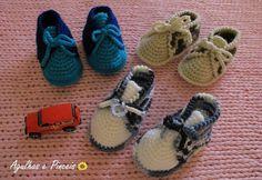 Agulhas e Pinceis: Sapatinho de crochê para bebê menino