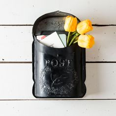 Metal Black Post Box - Magnolia Market | Chip & Joanna Gaines #blackpostbox #decor
