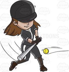 A female baseball player hitting the ball with a bat #cartoon #clipart #vector #vectortoons #stockimage #stockart #art