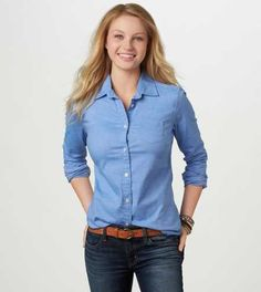 AE Oxford Favorite Shirt: Just bought this shirt in the blue and in the white for work. Hope they fit!