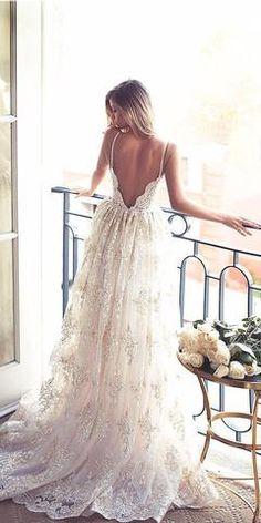 7cff157b14f Luxurious Sweetheart Spaghetti Open Back Wedding Dresses