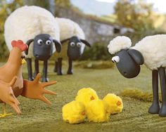 "Shaun the Sheep and his chicks in ""Who's the Mummy"". Might have to PS a gas mask onto one of them. ;)"