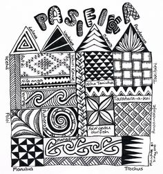 Zentangle pasifika sampler doodles and zentangles графика, д Mandalas Painting, Mandalas Drawing, Zentangle Drawings, Zentangle Patterns, Zentangles, Doodle Art Letters, Doodle Art Journals, Art Journal Pages, Tangle Doodle