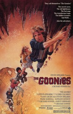 I've always loved movie posters & am fast considering it a dying pop art form.  This one for 'The Goonies' is one of the most memorable, inspirational & evocative of my childhood!