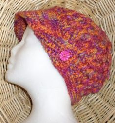 CROCHETED-HAT-with-BRIM-MULTICOLOR-22-CIRCUMFERENCE-8-HIGH-SIZE-LARGE
