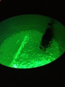 Glow sticks in cooler. Awesome idea for night parties!