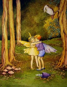 Ida Rentoul Outhwaite  1888-1960  -  One Day Her Special Little Playmate Came Into the Forest to Look for Her