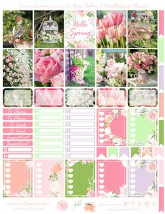 Free Hello Spring Printable Planner Stickers from Planner Onelove