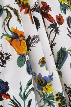 Tibi - Oversized Floral-print Silk Crepe De Chine Midi Dress - Ivory
