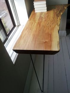 Live edge spalted maple table with hairpin legs  by roughnready, $600.00