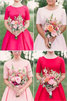 Beautiful bridesmaids dresses all in shades of pink