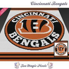 Cincinnati Bengals is a graph pattern that can be used to crochet a blanket using C2C (Corner to Corner), TSS (Tunisian Simple Stitch) and other techniques. Alternatively, you can use this graph for knitting, cross stitching and other crafts.  This graph design is 180 squares wide by 220 squares high.  It requires 3 colors.  Pattern PDF includes: - color illustration for reference - color squares pattern  Images only. There are NO written counts or step-by-step instructions. This listing is…