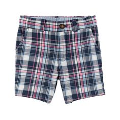 Toddler Boy Carter's Flat Front Plaid Shorts, Size: 2T, Pink