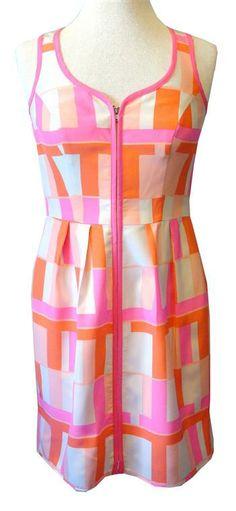 "Amanda Uprichard ""Conversation"" Dress In Coral Block Print Silk"