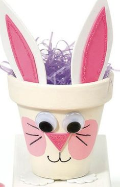 Easter Craft Ideas for Kids. This bunny flower pot is ideal container for candies on the table. Also, you can fill this up with goodies and send out to your favorite kids!