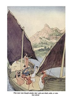 'They never once thought whether their sails were black, white, or rainbow coloured' an Illustration from 'The Minotaur' one of the 'Tanglewood Tales' – Illustrated by Milo Winter http://www.amazon.com/gp/product/1447478118/ref=as_li_tl?ie=UTF8&camp=1789&creative=9325&creativeASIN=1447478118&linkCode=as2&tag=reaboo09-20&linkId=VSID24HQQXSDAPIK