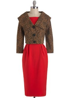 Garner Style Dress by Bettie Page - Long, Red, Brown, Animal Print, Buttons, Cocktail, Vintage Inspired, Bows, Sheath / Shift, Sleeveless, 50s