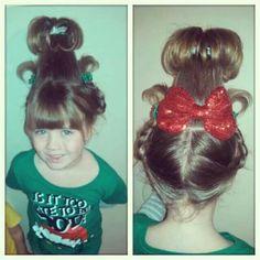 Use a cup Cindy-Lou hair! Use a cup Cindy-Lou hair! Use a cup Cindy-Lou hair! Use a cup Holiday Hairstyles, Popular Hairstyles, Girl Hairstyles, Dr. Seuss, Cindy Lou Who Hair, Whoville Hair, Le Grinch, Balyage Hair, Christmas Hair