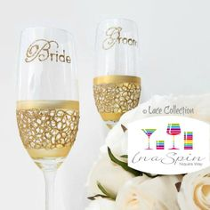 Gold Lace Champagne Glasses Gold Lace Bride by InaSpinNiquesWay