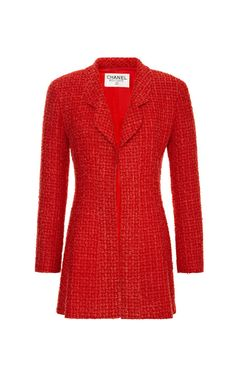 Chanel Red Boucle Jacket from What Goes Around Comes Around by Vintage Chanel for Preorder on Moda Operandi