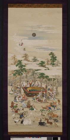 Painting, hanging scroll. The death of Sakyamuni. Ink and colours on silk. Signed and sealed.