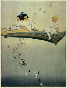 Magic Carpet by Bertha Lum, 1912 - something very magical about this painting. The girls and the birds are extremely well done.