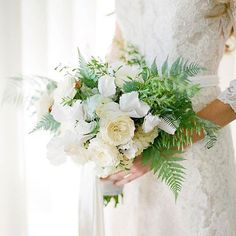 Flowerwild designed this all white bouquet of garden roses, white cyclamen, ferns, and wild grass for an earthy, natural feel. Fern Wedding, Botanical Wedding, Floral Wedding, Wedding Flowers, Fern Bouquet, Rose Bouquet, Peonies Bouquet, White Wedding Bouquets, Bride Bouquets