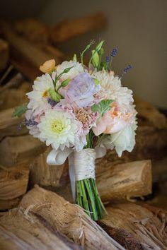 Romantic elegant bouquet.  Cream, pink, lavender.  Dahlias, Roses, Lizianthus.  Lavender Blue Events; Flowers by Kim; Katie DiSimone Photography