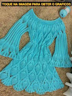 LINDO VESTIDO DE CROCHE COM GRAFICO (TOQUE NA IMAGEM) #graficosdecroche #graficocroche #graficosdecrochê Crochet Cardigan, Knit Dress, Crochet For Kids, Knit Crochet, Crochet Stitches, Crochet Patterns, Play Clothing, Crochet Wedding, Crochet Fashion