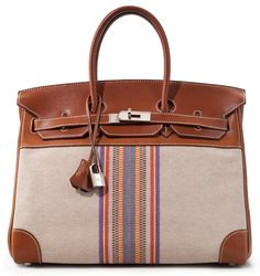 HERMÈS LIMITED EDITION BIRKIN IN NATURAL BARENIA LEATHER AND TOILE H GANGE, 35CM Bidding Starts at $5,000 via Chistie's